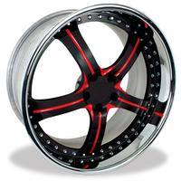 955 WCC Forged Camaro Wheels - Black Face/Red Accent with Chrome Lip