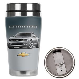 2010-2012 Camaro - Neoprene Wetsuit Travel Mug - Camaro Logo & Car