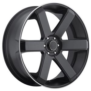 "2010-2014 Camaro Wheels - Dropstar ""644B"" 6 Spoke - Satin Black w/Machined Lip (Set of 4) :RS & SS"