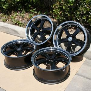 "2010-2014 Camaro ""Strip"" Wheels (Set) : Gloss Black w/ Mirror Cut Lip 20x8.5/20x10 - USED"
