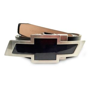 Camaro Leather Belt with Black Buckle : Chevy Bowtie Logo
