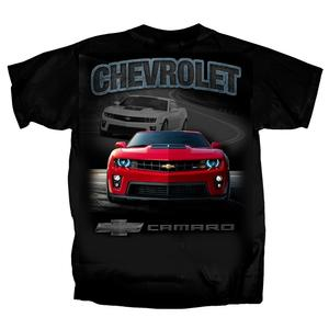 "Camaro T-Shirt ""Chevrolet Camaro"" with Bowtie - White and Red ZL1 : Black"