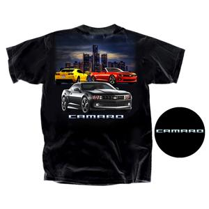 "Camaro T-Shirt ""Camaro"" with Sky Line / Yellow / Red and Black Camaros : Black"