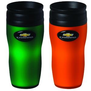 Camaro Soft Touch Travel Mug - Orange/Green 16oz