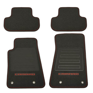 2010-2015 Camaro Floor Mats - Black w/ Inferno Orange Camaro Lettering