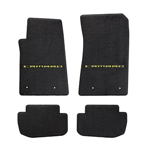 2010-2015 Camaro Floor Mats 4 Pc. Set (Yellow Lettering)