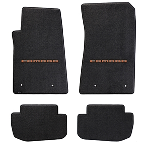 2010-2015 Camaro Floor Mats 4 Pc. Set (Orange Lettering)