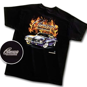Camaro w/ Flames T-Shirt Black