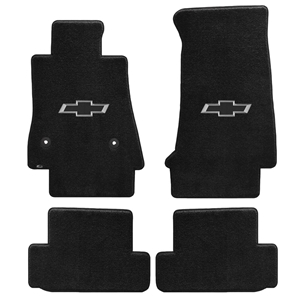 2016+ Camaro Floor Mats 4 Pc. Set (Silver BowTie)