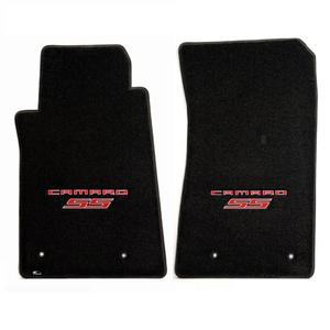 2010-2015 Camaro SS Floor Mats 2 Pc. Set (Red Lettering & SS Logo)