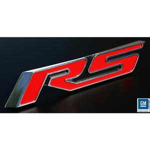 2010-2013 Camaro RS Heritage Grille Emblem - Red RS with Polished Outer