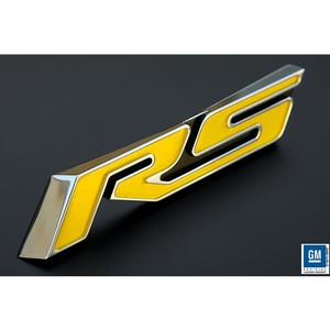 2010,2011,2012,2013,2014,2015 Camaro Trunk Emblem - Yellow RS with Polished Outer