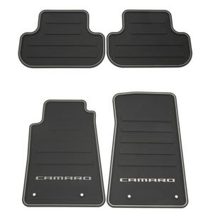 2010-2015 Camaro Premium All Weather - Rubber Floor Mats 4 Pc. Set (Silver Lettering)