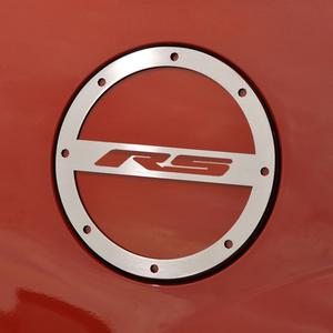 "2010-2015 Camaro Fuel Door Trim/ Gas Cap Cover - ""RS"" script -Brushed or Polished"