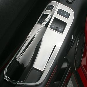 2010-2015 Camaro - Door Handle Pull / Switch Deluxe Trim Plate - Brushed with Polished Trim Ring - 2Pc Kit