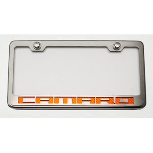 Camaro Tag/License Frame : Chrome, Stainless Steel & Carbon Fiber Camaro Script (Illuminated Options)