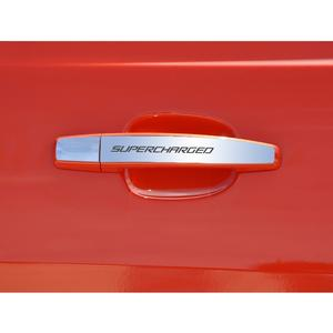 "2010-2015 Camaro Door Handle Plate Polished Exterior ""Supercharged"" 2Pc"