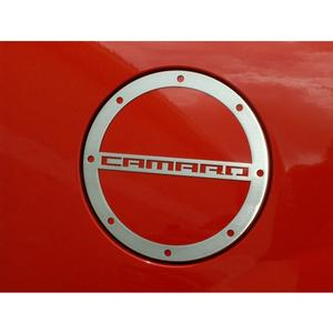 "2010-2015 Camaro Fuel Door Trim/Gas Cap Cover with ""Camaro"" script - Polished"
