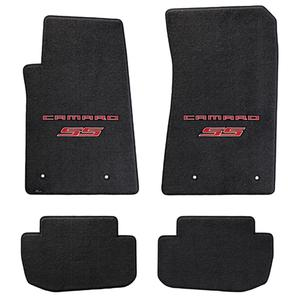 2010-2011 Camaro SS Floor Mats 4 Pc. Set (Red Lettering & SS Logo)