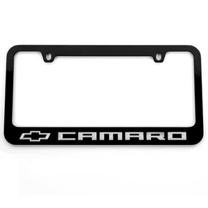 Chevy Bowtie Camaro License Frame : Black w/ White Lettering