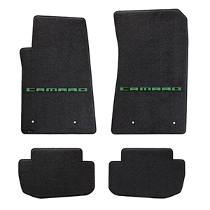 2010-2015 Camaro Floor Mats 4 Pc. Set (Green Lettering)