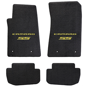 2010-2011 Camaro SS Floor Mats 4 Pc. Set (Yellow Lettering & SS Logo)