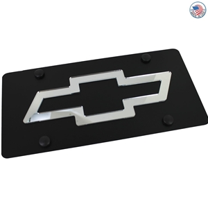 Chevrolet Bowtie License Plate on Black Steel
