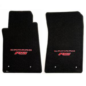 2010-2015 Camaro RS Floor Mats 2 Pc. Set (Red Lettering & RS Logo)