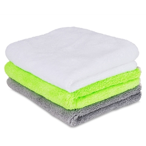 "Liquid X Premium Terry Microfiber Detailing Towels - Lime Green, White, Gray - 16"" x 16"""