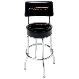Camaro Fifty Bar Stool With Back-Black