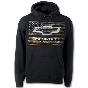 Chevy Bowtie On Camo Flag Hoodie