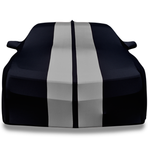 2010-2019 Camaro Ultraguard Sport Series Stretch Satin Indoor Car Cover : Black with Gray Stripes