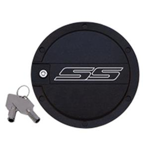 2010-2015 Camaro-SS Logo Locking Fuel Door - Billet Aluminum : Two Tone