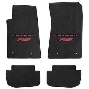 2010-2015 Camaro RS Floor Mats 4 Pc. Set (Red Lettering & RS Logo)