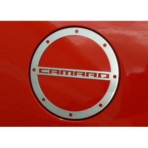 "2010-2015 Camaro Fuel Door Trim/Gas Cap Cover with ""Camaro"" script - Brushed"